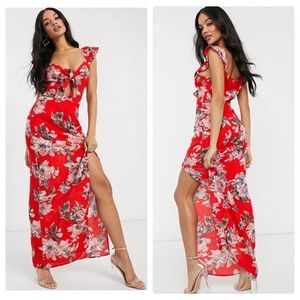 NWT Pretty Darling tie front floral maxi dress